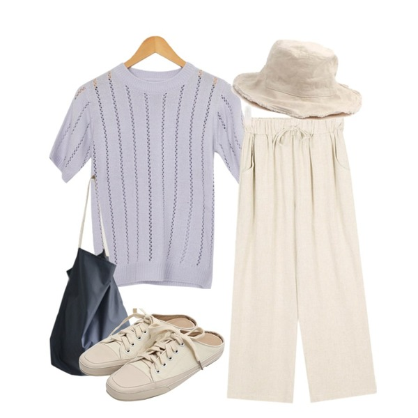 AWAB 엔딩파스텔5부니트,AIN vintage cutting bucket hat,AIN FRESH A cozy linen banding pants등을 매치한 코디