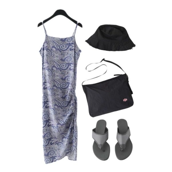 AFTERMONDAY cut-off bucket hat (3colors),AFTERMONDAY ethnic pattern sleeveless dress (2colors),AFTERMONDAY crispy texture black cross bag등을 매치한 코디