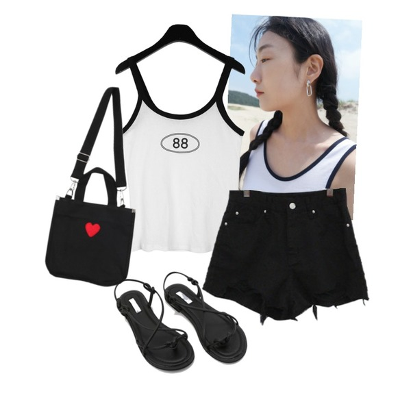 daily monday 88 cotton sleeveless,BITDA 시간여행 pants (2color),AFTERMONDAY tiny lettering earrings등을 매치한 코디