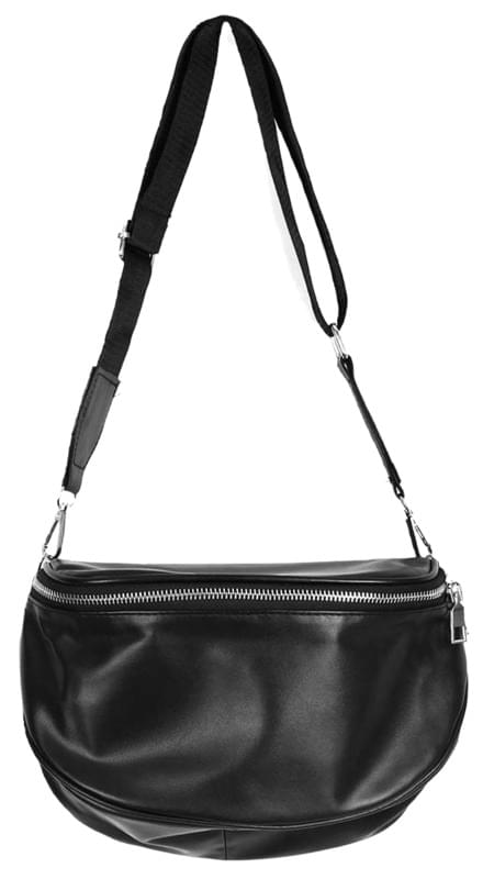 round leather fanny bag