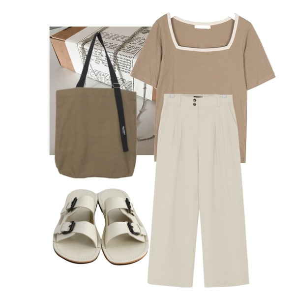 From Beginning Two button wide pants_B (size : S,M),AIN daily cotton squarer T,lavenir (made lavenir) twinkle necklace set등을 매치한 코디