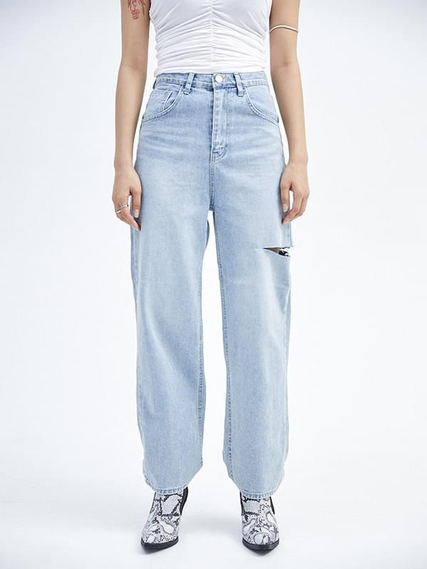 thigh cut denim pants - woman