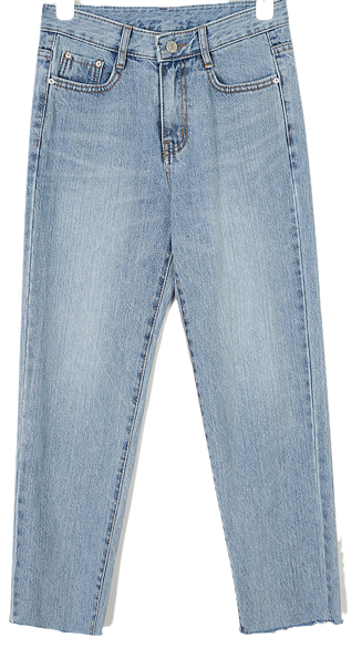 hood straight denim pants