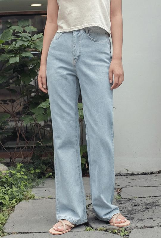 Wide-pit denim pants
