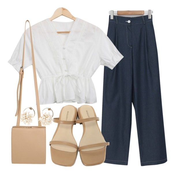 From Beginning Blue pin-tuck cotton pants_A (size : free),From Beginning Crush square cross bag_C (size : one),BULLANG GIRL 러블리주름BL등을 매치한 코디