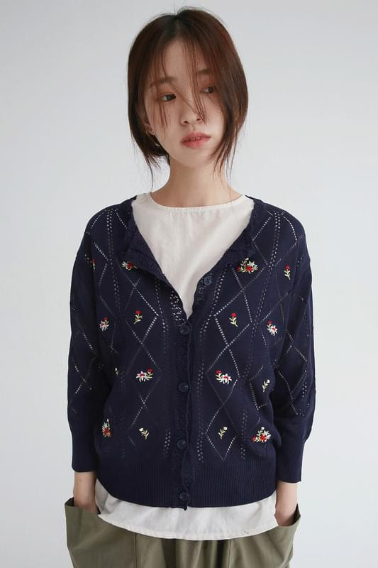 flower diamond knit cardigan