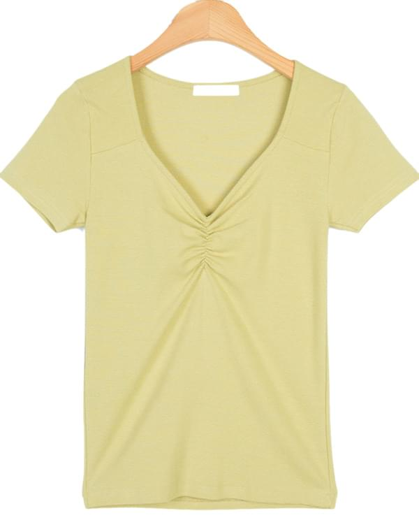 front shirring detail slim tee (4colors)