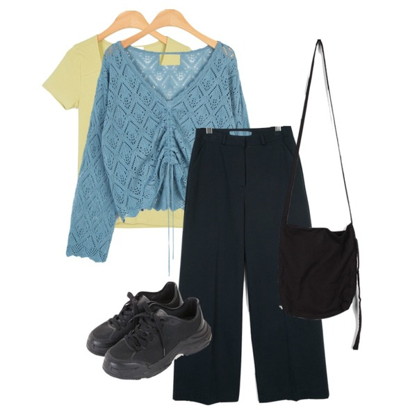moaol punching scsi texture shirring top (skyblue),moaol front shirring detail slim tee (4colors),moaol basic cotton wide pants (3colors)등을 매치한 코디