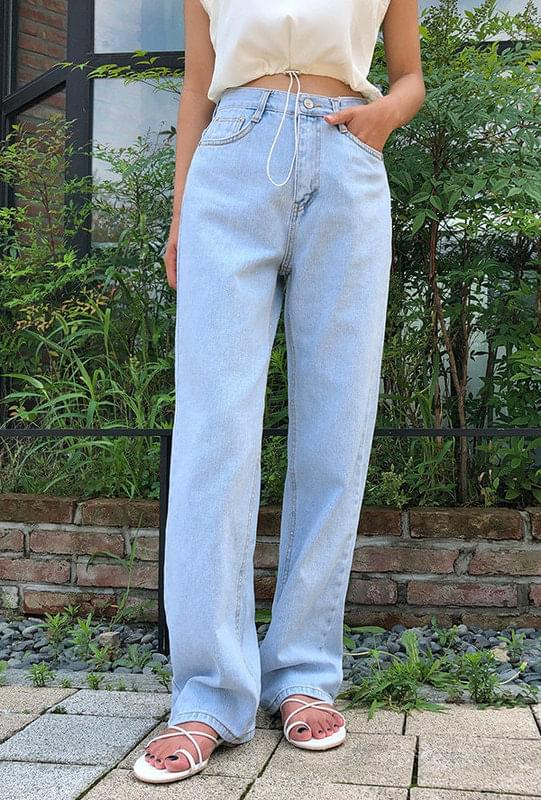 Long wide denim pants