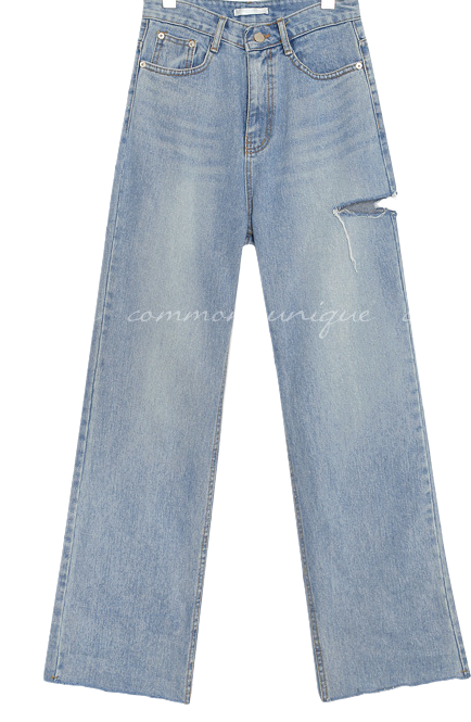 HILO DAMAGE WIDE DENIM PANTS