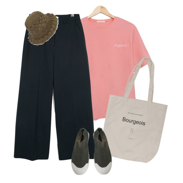 From Beginning Pastel lettering eco bag_Y (size : one),BULLANG GIRL 스무디반팔T,moaol basic cotton wide pants (3colors)등을 매치한 코디