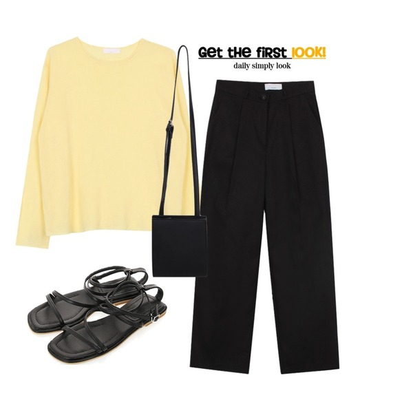 biznshoe Pintuck straight pants (4colors) * 컬러추가,ROCOSIX 제빈 스트랩 샌들,biznshoe Summer color knit (4color)등을 매치한 코디