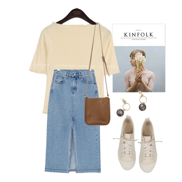 kinfolk,common unique [TOP] MANON MODAL GOLGI WAVE 1/2 T,BANHARU long slit slim fit denim skirt등을 매치한 코디