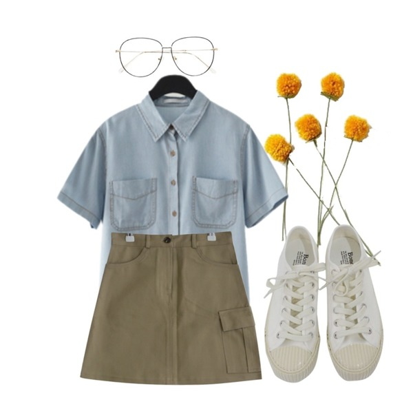 yellow flower,AFTERMONDAY denim half sleeve shirt,MUSEPOP 올리브 스티치 스커트 (sk0058)등을 매치한 코디