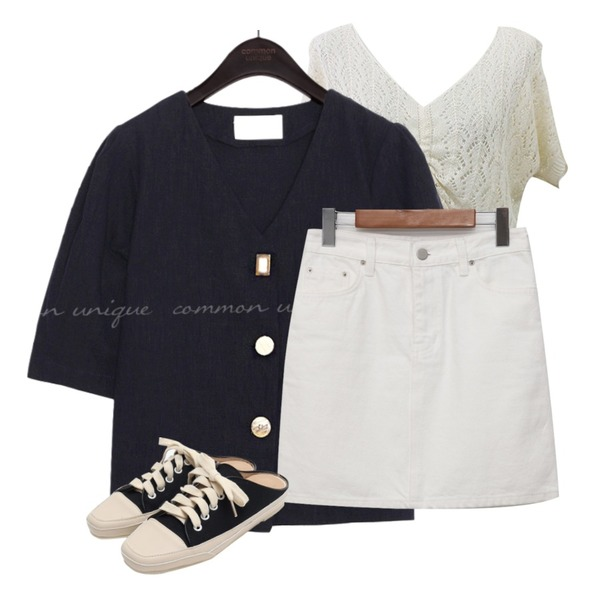 common unique ARON LINEN 1/2 BLOUSE JACKET,From Beginning Standard ivory mini skirt_Y (size : S,M,L),BITDA 이클 knit (3color)등을 매치한 코디