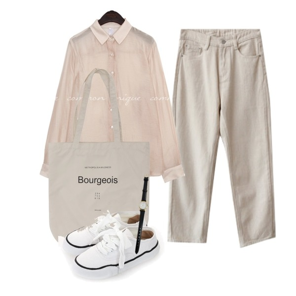 From Beginning Pastel lettering eco bag_Y (size : one),common unique KINO SILKY SEETHROUGH BLOUSE,ENVYLOOK 크림스탠다드팬츠등을 매치한 코디
