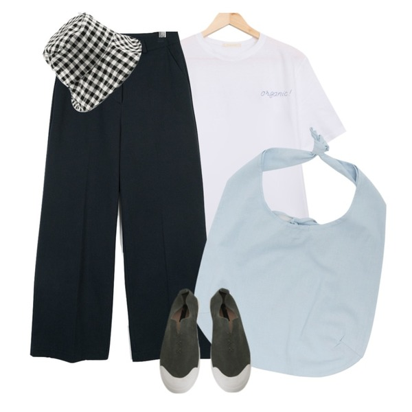 From Beginning Daily cotton shoulder bag_C (size : one),BULLANG GIRL 스무디반팔T,moaol basic cotton wide pants (3colors)등을 매치한 코디