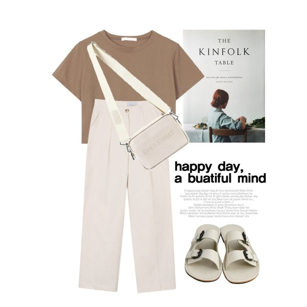 kinfolk table,biznshoe Pintuck straight pants (4colors) * 컬러추가,biznshoe Half crop top (6color)등을 매치한 코디