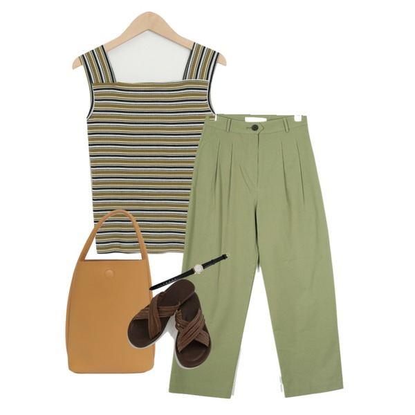 AIN pin tuck wide pants (s, m),From Beginning Border soft tote bag_Y (size : one),From Beginning Square stripe sleeveless_Y (size : free)등을 매치한 코디
