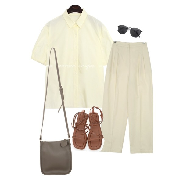 common unique FLINT ROLL UP PUFF 1/2 BLOUSE,UPTOWN HOLIC 투핀턱 pants (*2color),UPTOWN HOLIC 스페쉬 bag (*4color)등을 매치한 코디