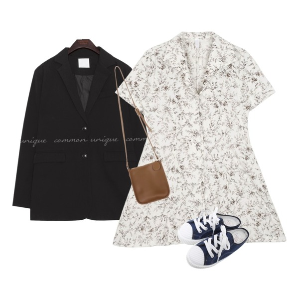 openthedoor floral collar button 1/2 ops (3 color) - woman,common unique [OUTER] STEADY SET-UP SINGLE JACKET,UPTOWN HOLIC 스페쉬 bag (*4color)등을 매치한 코디