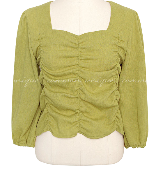HOMER SHIRRING SQUARE CROP BLOUSE