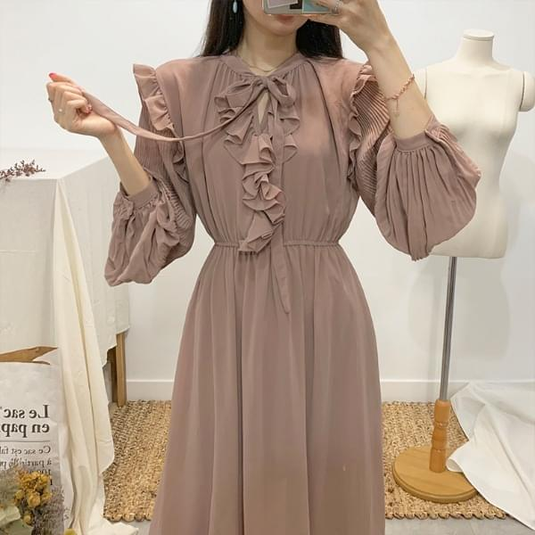 Sherbet ribbon tie chiffon long dress