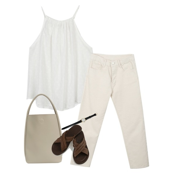 MIXXMIX 코튼 베이지 일자 팬츠,From Beginning Border soft tote bag_Y (size : one),moaol punching detail halter sleeveless (ivory)등을 매치한 코디