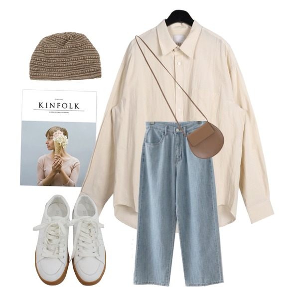 kinfolk,daily monday Linen over shirts,AFTERMONDAY crop easy denim (3colors)등을 매치한 코디