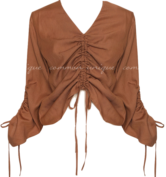 BRISE V NECK SHIRRING BLOUSE
