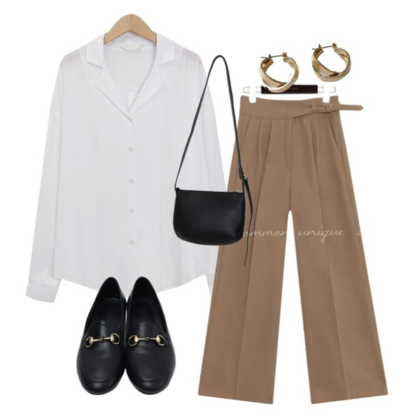 lavenir space earring,common unique NOVA BELT DETAIL WIDE SLACKS,From Beginning Page stripe loose shirts_K (size : free)등을 매치한 코디