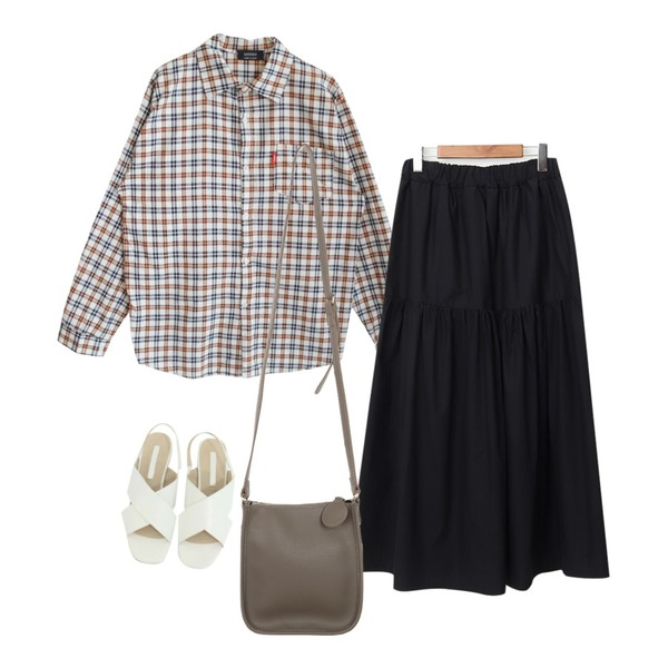 BITDA 헤일로 sh (3color),GIRLS RULE 로코 체크 남방셔츠 (nb0032),From Beginning Raina long flare skirt_K (size : free)등을 매치한 코디
