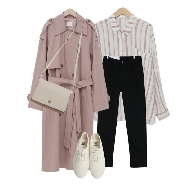 acomma 그룸 코튼 일자핏 - pt (3COLOR),From Beginning Latte double trench coat_K (size : free),From Beginning Stripe pocket linen shirts_H (size : free)등을 매치한 코디
