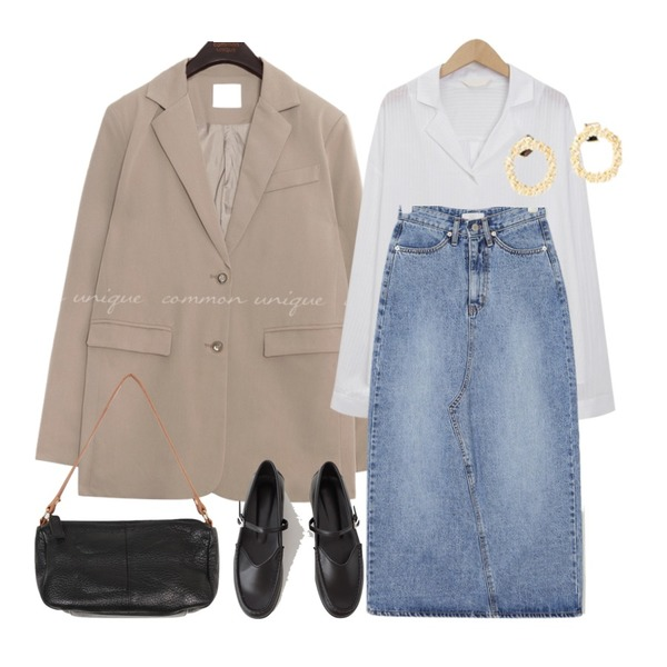 AIN kiti long denim skirt (s, m),common unique [OUTER] STEADY SET-UP SINGLE JACKET,From Beginning Page stripe loose shirts_K (size : free)등을 매치한 코디