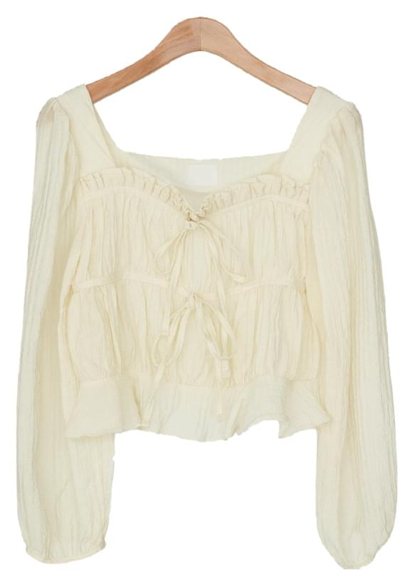 lovely shirring crop blouse