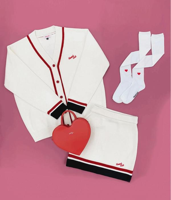 HEART CLUBEmbroidered Logo Contrast Stripe Knit Cardigan