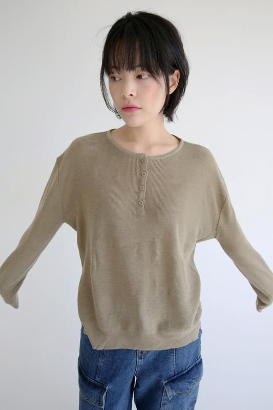 kitch button knit tee (4colors)
