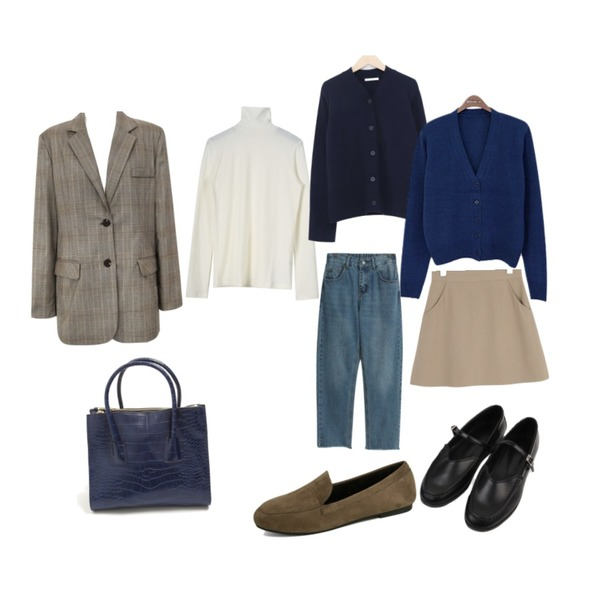 common unique [OUTER] GLEN CHECK ROLL UP JACKET,daily monday Wearable soft pola tee,From Beginning Mode wool v-neck cardigan_K (울 80%) (size : free)등을 매치한 코디