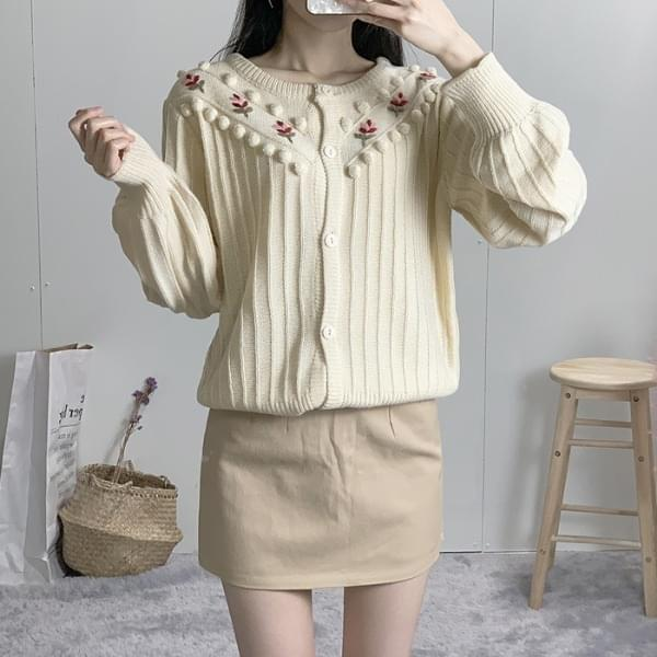 Pom Pom Flower Embroidery Puff Knit Cardigan