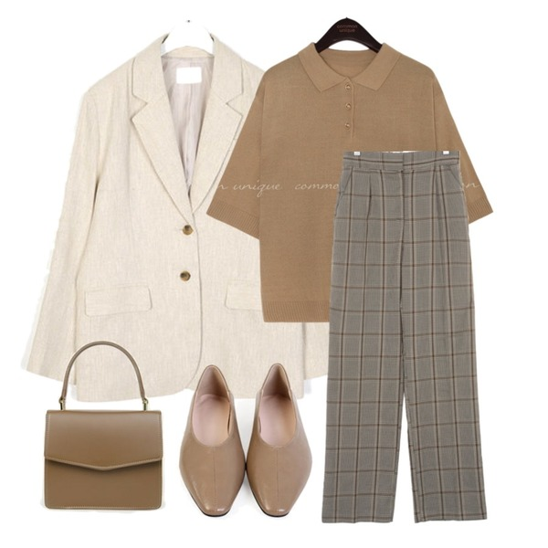 AIN page standard linen jacket,common unique MORETHAN COLLAR BUTTON 1/2 KNIT,UPTOWN HOLIC 플래닛 체크 pants (*2type)등을 매치한 코디