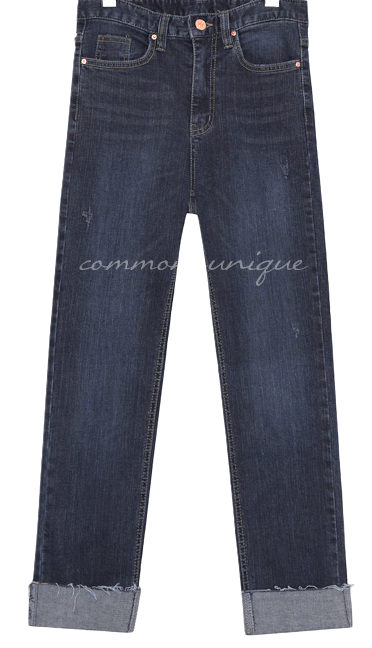 SLIM SPAN ROLL UP DENIM PANTS