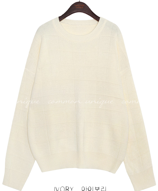 SLOW SQUARE PATTERN LOOSE FIT KNIT ニット
