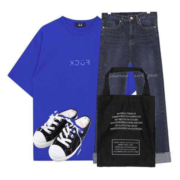 BULLANG GIRL 줄스니커즈블로퍼,MIXXMIX Kcuf T-shirt,common unique SLIM SPAN ROLL UP DENIM PANTS등을 매치한 코디
