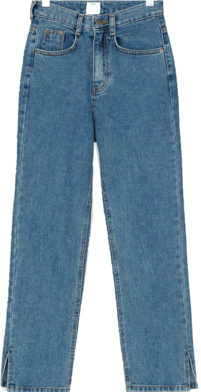 side slit high-waist denim pants