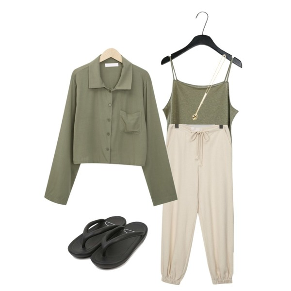 AFTERMONDAY vintage mood sleeveless (5colors),AIN a some cushion slipper (s, m, l),From Beginning Keep banding jogger pants_J (size : free)등을 매치한 코디