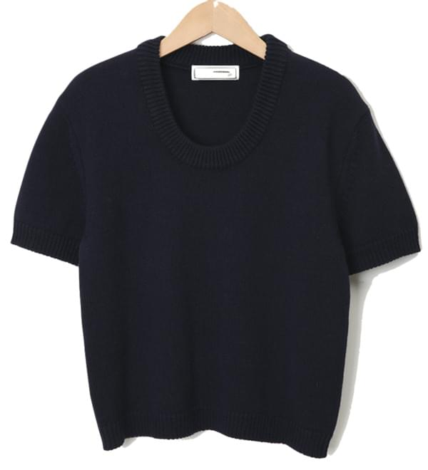 Low neck crop knit_A