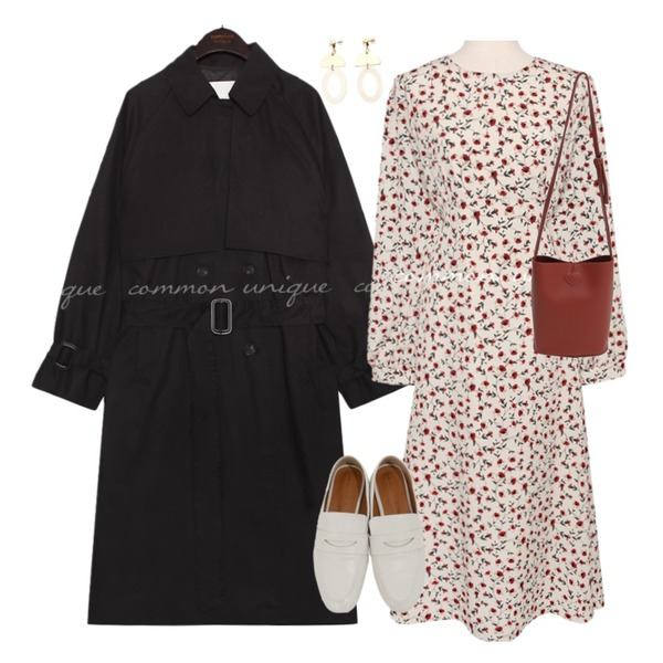 From Beginning Hang loop cross bag_C (size : one),common unique FLOYD DOUBLE BELT TRENCH COAT,common unique [OPS] MASON FLOWER ROUND LONG OPS등을 매치한 코디