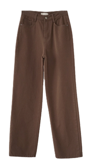 twill texture straight fit pants