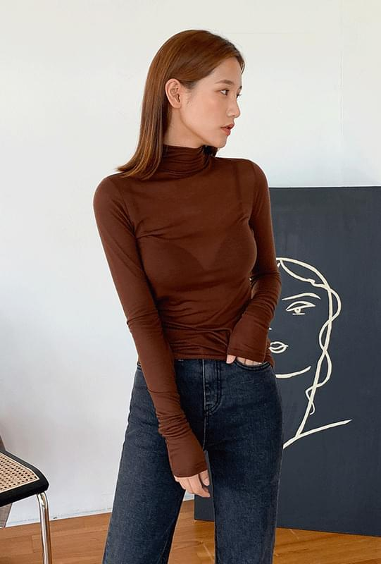Long sleeve see-through polar shirt
