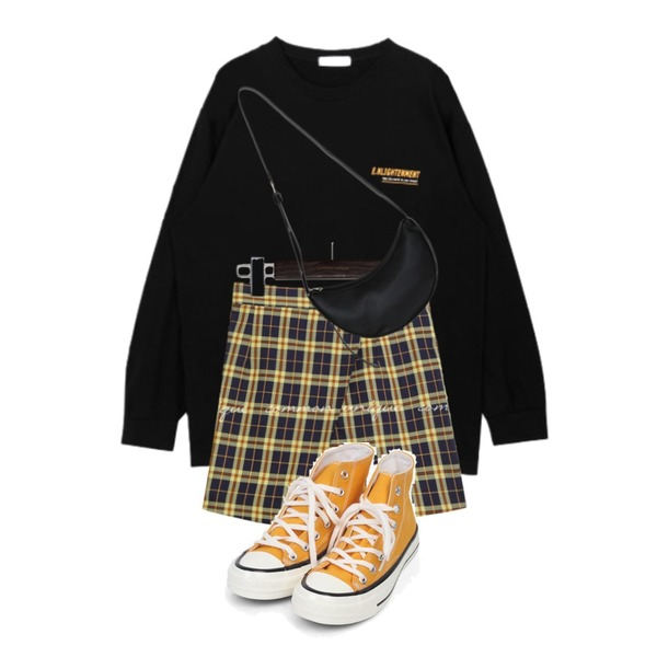 AIN colouring high canvas sneakers (225-250),common unique HONTAS CHECK WRAP PANTS SKIRT,MIXXMIX 얼스 라운드 티셔츠등을 매치한 코디